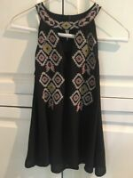 THML Women's Sleeveless tank top.  Black embroidered, XS .  EUC