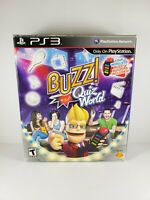 Buzz Quiz World (Sony PlayStation 3 2009) Complete 4 Buzzers Dongle Tested Works