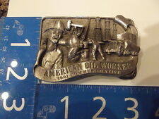 Vintage Belt Buckle American Oil Worker Commemorative Limited Edition 1981