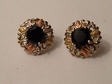 Sterling Silver & 12K Yellow and Rose Gold Stud Earrings for Pierced Ears