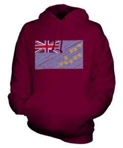 TUVALU SCRIBBLE FLAG UNISEX HOODIE TOP GIFT TUVALUAN FOOTBALL