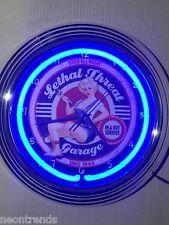 LETHAL Garage SERVICE Wanduhr Neonuhr Neon signs clock Uhr Neonclock news