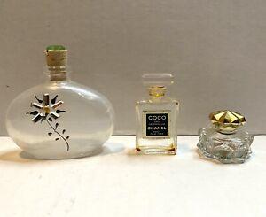Vintage Lot Of 3 MINI PERFUME Bottles Coco CHANEL AVON - EMPTY