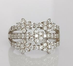 Beautiful Sterling Silver & Simulated Diamond Floral Cocktail Ring UK Size N/O