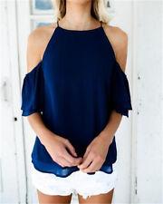 Fashion Women's Off Shoulder Tops Short Sleeve Shirt Casual Blouse Loose T-shirt