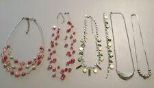 necklace, green stone bracelet set + red aurora borealis beads, triple strand