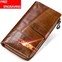 Men's Genuine Leather Long Wallet ID Card Holder Clutch Vintage Purse Handbag