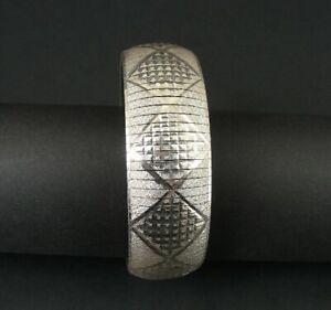 Bracelet Bangle Silver Italy Sterling 925 Italy Diamond Shape Design Texture