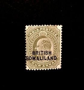 SOMALILAND 1903 4a OLIVE WITH 1 FOR I IN BRITISH (BR1TISH) MM SG 29a CAT £225