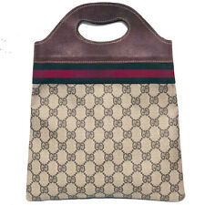 Vintage Gucci Supreme Canvas/ Leather /Web stripe Mini Tote / Strap