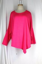 CHA CHA VENTE Slouch Lounge Top XL Bright Pink Asymmetrical Hem Drop Shoulder