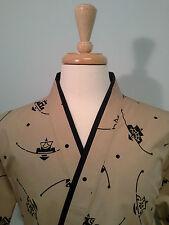 Happi coat, sushi coat, sushi chef coat, serving coat, Black Shapes on Brown