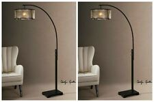 """TWO CAIRANO MID CENTURY MODERN XXL 80"""" CURVED METAL FLOOR LAMP LIGHT MICA SHADE"""