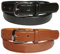 Mens New Leather Belt Casual 1.25 Inch Fashion Trouser Belts in Black or Tan