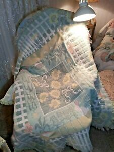 Vintage Goodwin Weavers Throw Fringed Blanket Square Pastel Colors Very Thick