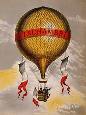 VINTAGE LACHAMBRE HOT AIR BALLOON FRENCH ADVERTISING A4 POSTER PRINT
