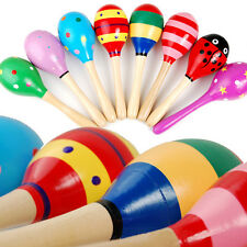 2 Kid Baby Child Maraca Rattle Shaker Musical Toy Wooden Percussion Favor gift