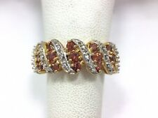 1ct Garnet Diamond Cluster Anniversary Band Ring Size 7 Yellow Gold over Ster...