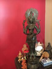 "Vintage Lord Vishnu Bronze Sculpture 27.5"" x 7.5"""
