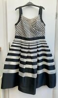 BNWOT New Hobbs Invitation Black & Cream Striped 'Fit N Flare' Midi Dress Sz 14