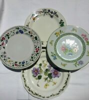"4- Mismatched China Ironstone Salad Plates Very Colorful  7 1/2""  #109"