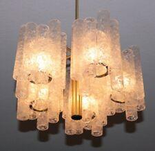 vintage DORIA XL KRONLEUCHTER strukturiertes Eisglas Leuchter -  Ice Glass Lamp