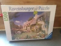 RAVENSBURGER 1500 piece jigsaw puzzle 🦘🦘 COTTAGE ON BREDON HILL WORCS.