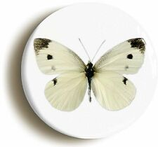 SMALL WHITE BUTTERFLY BADGE BUTTON PIN (Size is 1inch/25mm diameter)
