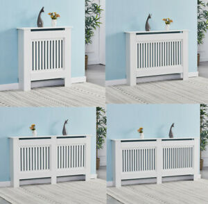 White Radiator Covers Modern Cabinet MDF Slats Grill Cabinet Wood Shelf Painted