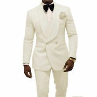 Business Mens Suit Slim Fit Coats Wedding Tuxedos Groom Tailored Double Breasted
