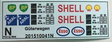Aral Shell BP Esso Logos für Kesselwagen Decals 1:160 oder Spur N