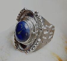 Silberring 56 Breit 2 cm Lapis Lazuli Pyrit Verspielt Antik Om AUM Ring Silber