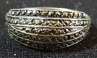 Sterling silver & marcasite vintage Art Deco antique ring - size Q