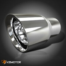 "Adjustable 2.5"" Inlet 3.5"" Outlet Chrome Stainless Steel Exhaust Muffler Tip"