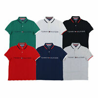 Tommy Hilfiger Mens Mesh Polo Shirt Graphic Flag Logo Business Casual Top New Th