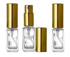 3 Perfume Atomizers, Empty Square Glass Bottle Gold Sprayer, Travel 1/6 oz 5ml