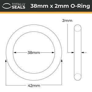 38x2 Nitrile (NBR) O-rings - 38mm Inner Diameter x 2mm Cross Section (42mm OD)