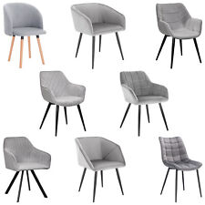 Esszimmerstuhl Küchenstühle Wohnzimmerstuhl Stuhl aus Samt Grau Hellgrau #1598