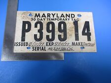 Vintage Temporary Maryland Datsun License Plate Tag Expired August 11 1977 M6088