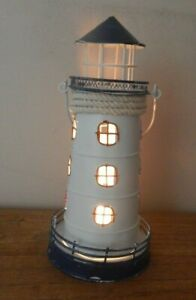 RUSTIC METAL LIGHTHOUSE TEA LIGHT HOLDER FREESTANDING HANGING NAUTICAL SEA