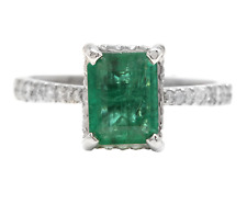 2.00Ct Natural Emerald & Diamond 14K Solid White Gold Ring
