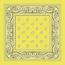 Light Yellow Paisley Center Cotton Bandana Scarf Handkerchief Hanky 18 X 18 Inch