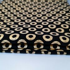 BLACK  Embossed Circle Velvet Gold Foil Flock Décor Craft Dress Fabric 44""