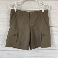 REI UPF 50+ Nylon Cargo Hiking Shorts Womens Size 2 Brown Inner Waist Drawstring