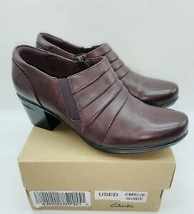 Clarks Collection Women's Rouched Ankle Boots- Emslie Guide Wine Leather US 7.5M