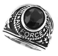 August CZ Birthstone US Coast Guard Mens Ring in Solid 925 Sterling Silver