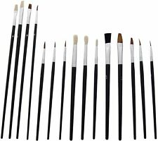 15 x Round Flat Pointed Artist Brush Set Art Paint Fitch Brushes Thin Thick