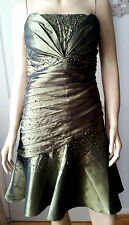 FASHION PRETTY Green Satin Style Pleated Bead & Sequin Prom Party Dress  Med