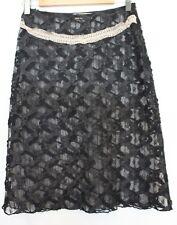 ALANNAH HILL ~ Black Lace & Applique A-Line Skirt w Cream Lace Trim 10