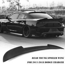 Fits 2011-18 Dodge Charger Hellcat Style Matte Black ABS Rear Trunk Spoiler Wing